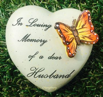 8cm In Loving Memory of a Dear HUSBAND HEART with Butterfly Grave Stone 846515